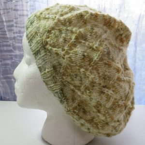 Beanie Lace Hat Hand Knitted from Hand Dyed Yarn with Czech Glass Beads and Mohair - LYONS by Kat