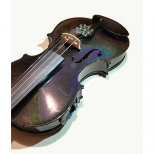 Full Violin Holigraphic Painted Glitter, Black Violin, Acoustic Electric Violin,  Rainbow Violin, Decorated Full Size Violin, 4/4 instrument