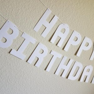 White Happy Birthday Banner