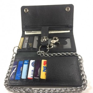 """Mens Deluxe Trifold Wallet, Apple iPhone 5, 5c, 5s & 6 Carrier, Genuine Leather, 18"""" CHROME CHAINS ONLY, Key FOB, Biker Wallet, Trucker Wallet."""