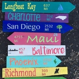 Directional Mileage Sign