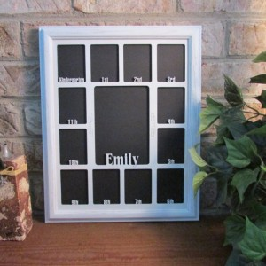 School Years Picture Frame with Name Graduation Gift Collage K-12 White Picture Frame White Matte 11x14