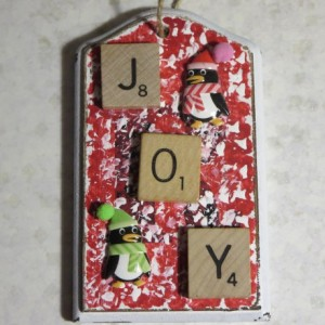 Scrabble® Game Tile Christmas Ornament (FREE SHIPPING!) Joy Red