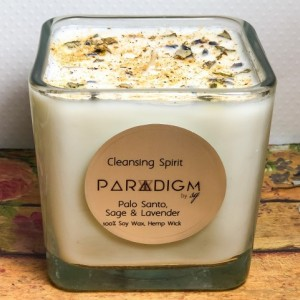 Cleansing Spirit Candle 100 Percent Soy Wax, Hem, Therapeutic Essential Oils, Energy Cleansing