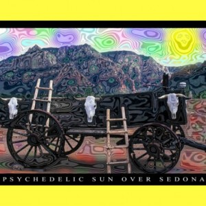 3 Trippy Handmade Keepsake Greeting Cards 5x7 Blank: PSYCHEDELIC SUN OVER SEDONA