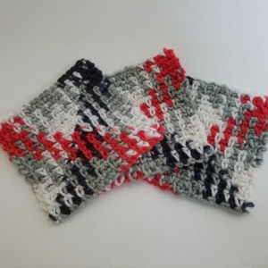 Argyle Crochet Coaster Set (Set Of 3)