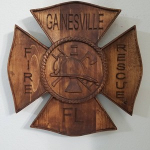 Fire Dept Maltese Cross Badge - 3D V CARVED - Personalized Firefighter/Dept Badge V Carved Wood Sign