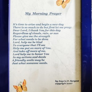 My Morning Prayer framed poem