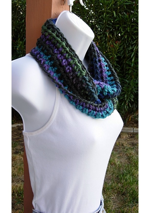 Small Amp Short Blue Purple Black Green Infinity Cowl