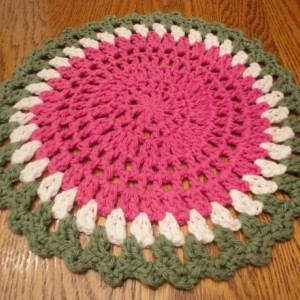 "CROCHETED WATERMELON DOILY in Hot Pink, White and Green - 11 1/2"" in diameter - Great for Spring & Summer! 100% Cotton"