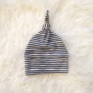 Organic Newborn Baby Knotted Hat   Painted Stripes Print
