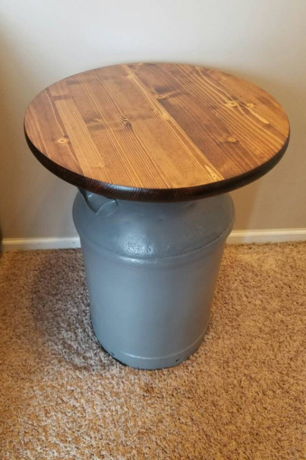 Vinatge Milk Can End Table Aftcra