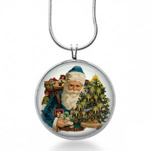 Blue Santa with Tree Necklace - Christmas Jewelry - Holiday Pendant - Christmas