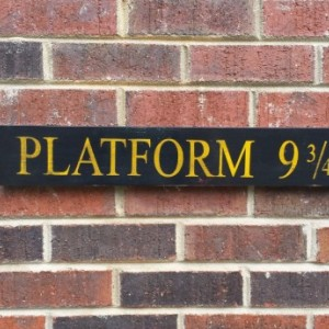 Platform 9 3/4 sign, Harry Potter vintatge hand painted wood sign art