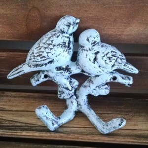 French Country Blue Distressed Double Perching Swallows Wall Hook