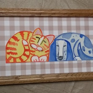 Framed Original Watercolor Art - Collage- KITTEN  and  PUPPY -