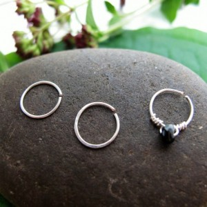 Set of Minimal Silver Hoops, Three Small Cartilage Hoops, 22 Gauge Silver Helix Hoops, Silver Nose Ring, Silver Piercings