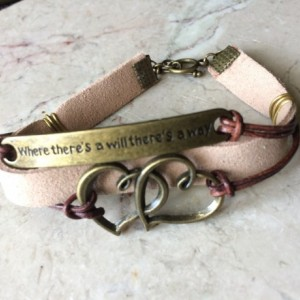 """Beige/ natural leather bracelet with bronze tone plate connector said """"Where there's a will there's a way"""" and double heart charm B00243"""