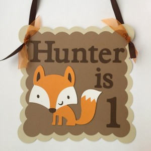 Fox Door Sign, Fox Birthday, Woodland Animal Birthday, Animal Door Sign