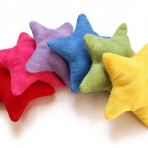 Bright Rainbow Star Shaped Bean Bags (set of 6) Children's Sensory Toy Homeschool Five Point Star-- US Shipping Included