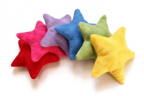 Flannel Star Shaped Rainbow Bean Bags Set Of 6 Aftcra