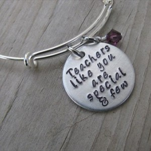 """Teacher's Bracelet- """"Teachers like you are special and few"""" with an accent bead in your choice of colors- Gift for Teacher"""