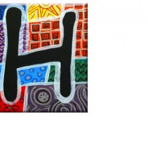 "TILE - ALPHABET Letter ""H"" - Signed By Artist A.V.Apostle"