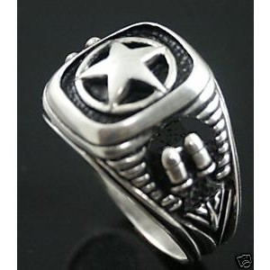 Texas Lone Star silver bullet ring sterling silver