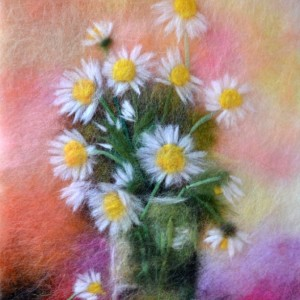 """Wool Painting """"Bouquet of chamomiles"""""""