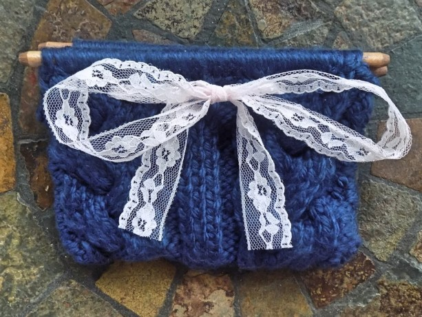 Navy Cable Knit Clutch w/ Pink Ribbon