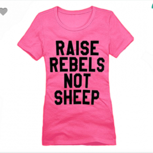 Raise Rebels Not Sheep XS To XL District Brand Crew T-shirt For Women In Dark Fuchsia With Black Ink