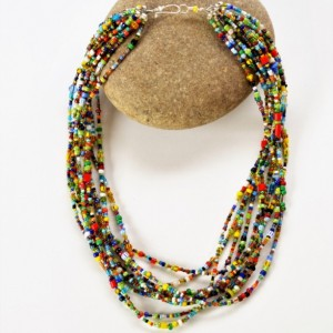 Bohemian necklace,  African jewelry, African beaded necklace, Colorful beaded necklace, African tribal necklace, African necklace,