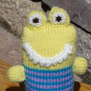 Monster, Baby Toy, Stuffed Monster, Hand Knitted Monster,  Striped Toy