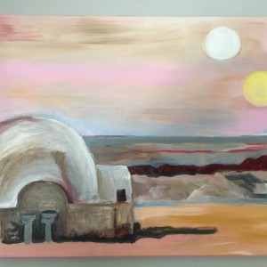 Star Wars Tattoine landscape original acrylic painting on stretched canvas. Luke Skywalker's childhood home.