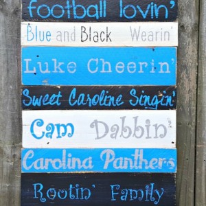 Handcrafted Hand Painted Reclaimed Wooden Carolina Panthers Pallet Sign