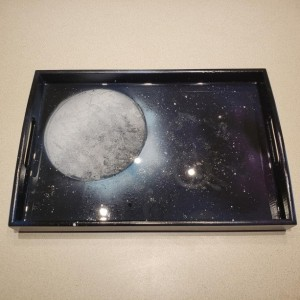 Large Spray Painting Moon Serving Tray, Resin Art, Epoxy Art, Hand Painted Tray, Galaxy Painting, Bamboo Serving Tray, Epoxy Resin Art Tray