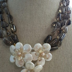 3 strands Smokey Coin Pearl Flowers