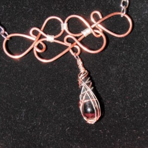 Wire Wrapped Necklace, Natural Copper, Sterling Silver and Black Agate Pendant