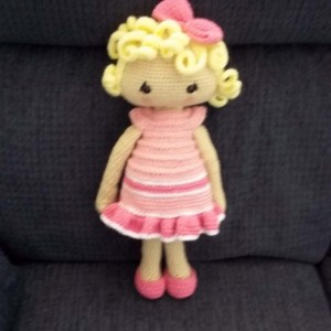 18 inch Veronica, Nicole or Anne Dress Me Up Doll - Crocheted Doll Clothes -Dress and Shoes – Shades of Pink/White
