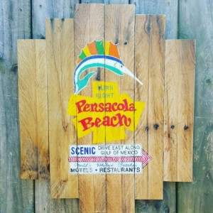 Handcrafted Distressed Reclaimed Wooden Pensacola Beach Sign