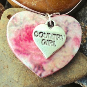 For the Love of the Craft Mixed Media Pink Country Girl Heart Charm Pendant