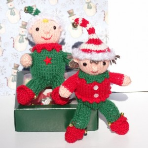 Christmas Elves, Knitted Elves, Christmas Decoration, Tree Ornaments, Santa's Helper, Knitted Fairy Dolls, Christmas Gnome, Ready to Ship
