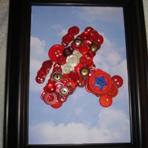 Red Airplane button art--framed