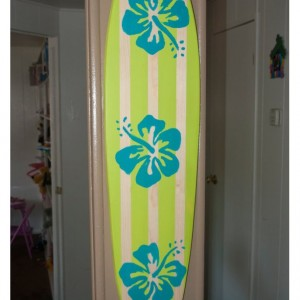 Lime Green / Aqua Hibiscus Flower - Hanging Surf Board Sign