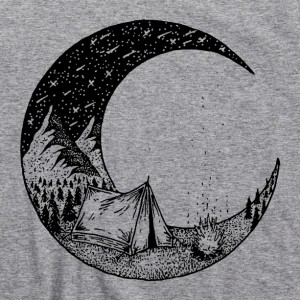 Camping Under The Moon & Stars Men's T Shirt, Forest Mountains Hiking Trails Campfire Bonfire Great Outdoors Camping Unisex Cotton Tee Shirt