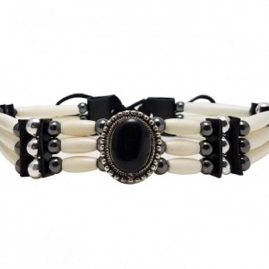 3 Row Buffalo Bone Hairpipe Beads Traditional Tribal Choker Necklace