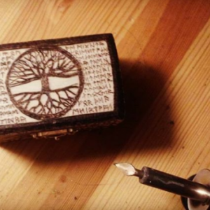 Tree of Life Jewelry/Stash Box with Norse Elder Futhark Runes - Handcarved Wooden Box - Pyrography
