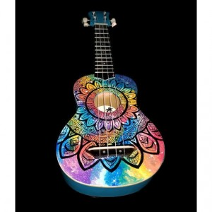 Soprano Rainbow Galaxy Mandala Ukulele, Hand Painted Ukulele, Decorated guitar, Rainbow Ukulele,instrument, concert, tenor, baritone, guitar