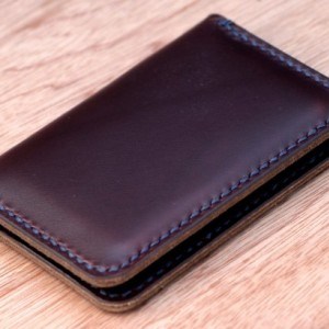 Leather Card Wallet, Chromexcel Leather Card Holder, Horween Leather Slim Wallet, Minimalistic Leather Wallet, Burgundy Chromexcel Bifold