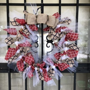 "Red white and burlap 13"" wreath"